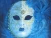 liou Masque ou masqué  acrylique sur toile 55 x 45 cm