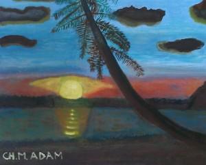 ch m adam, le palmier de la Guadeloupe, 46 x 37 cm, huile à l'eau sur toile