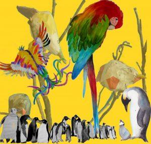 affiche comme un oiseau dans les arts