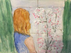 betty solitude,confinement aquarelle et acrylique 20 x 14 cm