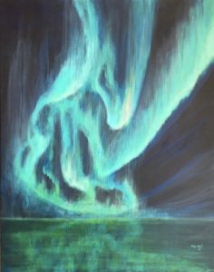 Ma Uyi Aurore boreale 73 x 92 cm acrylique sur chassi