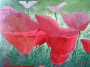Manou brassée de fleurs 100 x 72.5 cm acrylique sur chassis