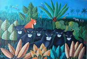 alaforet pantheres d apres l'oeuvre de gabriel goutard peintre haitien 1980 d'une jungle revee acrylique 69 x 92 cm