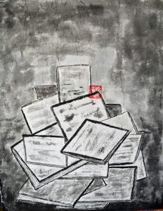 laramas amas de deplacements derogatoires encre de chinse sur papier de riz marouflé sur toile 40 x 32 cm