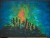 bess. la destruction de la terre par les hommes 50 x 70 cm acrylique au couteau sur toile