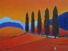 Cinq cypres acrylique sur toile, 61 cm x 50 cm